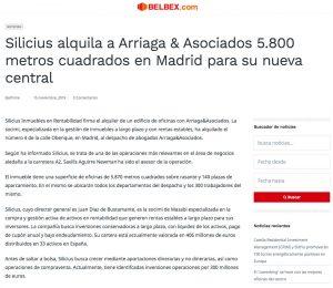 Silicius alquila a Arriaga & Asociados 5.800 metros cuadrados en Madrid para su nueva central   belbex.com