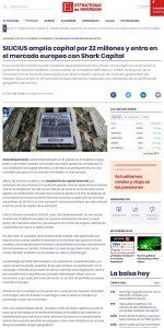 SILICIUS amplía capital por 22 millones y entra en el mercado europeo con Shark Capital | Estrategias de Inversión