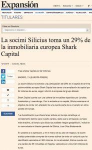 La socimi Silicius toma un 29% de la inmobiliaria europea Shark Capital | Expansión